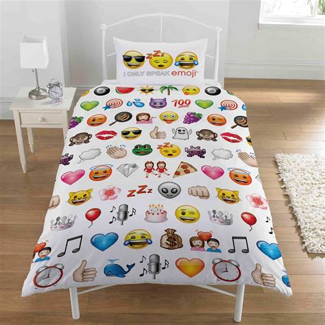bed emoji emoji multi single duvet cover pillowcase set bedding