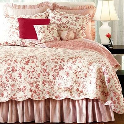 french country toile bedding red french country toile quilt set l art de bien vivre