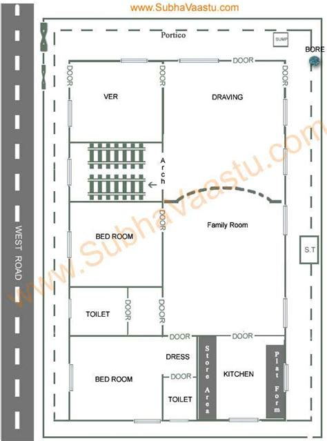 vastu west facing house plan subhavaastu