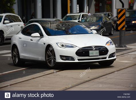 tesla electric car tesla electric car in toronto streets canada stock photo