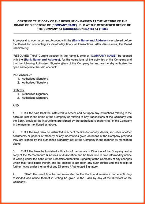 Template Board Of Directors Resolution Template Letter Sle By A Non Profit Board Of Board Resolution Template Non Profit