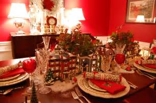 Table Scapes Christmas Table Setting Tablescape With Dept 56 Lit