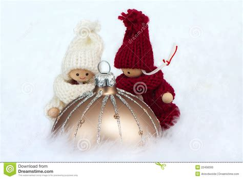 brown christmas bauble with puppets stock photo image