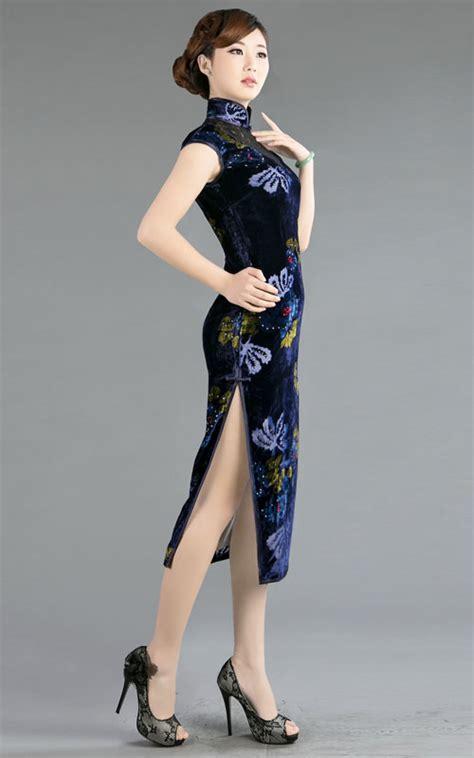 Cheongsam Top Purple Blue Size Lxl 1 Trditional Qipao Silk Velvet Navy Blue 1