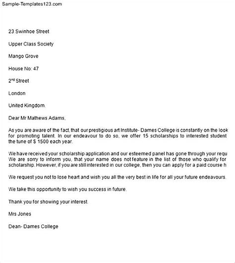 Scholarship Rejection Letter Format college scholarship rejection letter sle templates