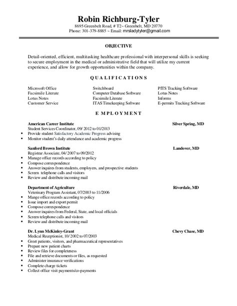 Resume Sample Receptionist by Robin S 2013 Resume