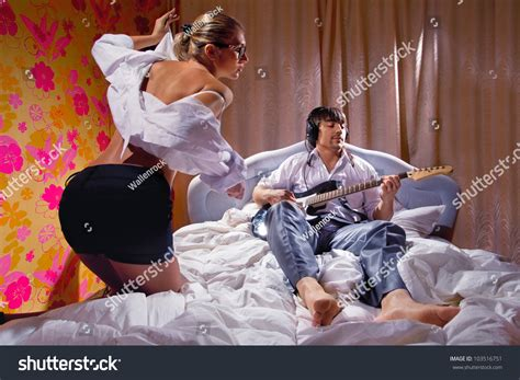 Bedroom To Play With Your Boyfriend Happy Boyfriend Electric Guitar Stock Photo