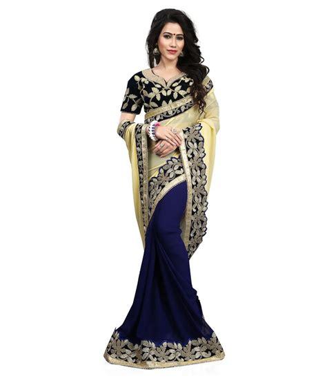 fashion sarees shivanya fashion navy georgette saree buy shivanya