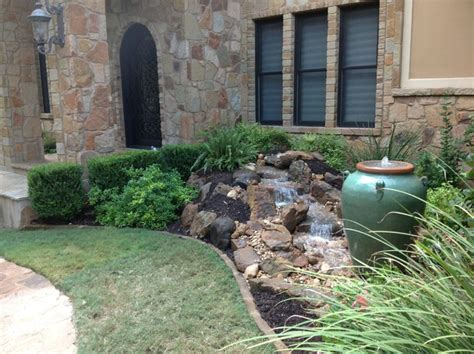 front yard features christa s front yard waterfall and bubbling urn water