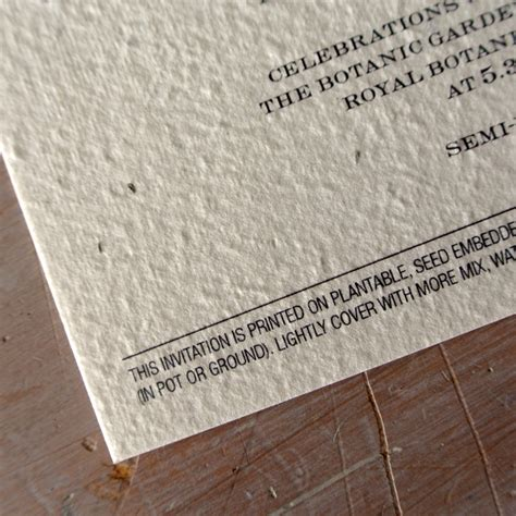 Wedding Invitations Seeded Paper by Enchanted Tree Plantable Wedding Invitations Seed Paper