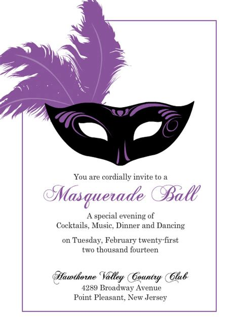 flashy purple mask mardi gras invitation template