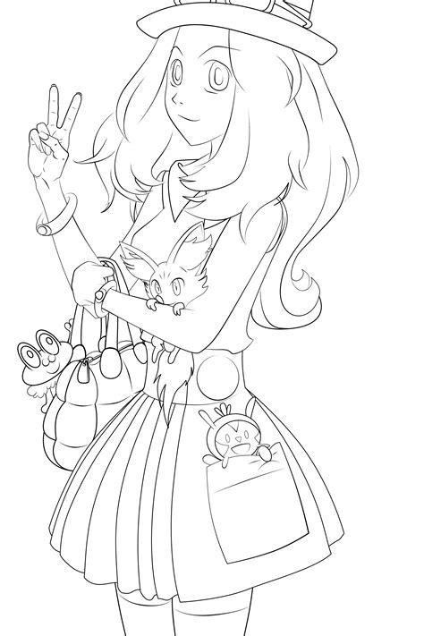 Serena Pokemon Xy Lineart By Kirakam On Deviantart Xy Coloring Pages