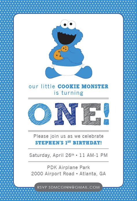 Cookie Monster Sesame Street Baby Birthday Invitation Blue Boy Turning One Two Three Four 1 Cookie Invitations Templates
