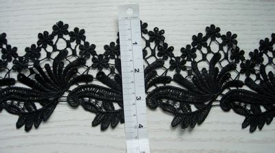ot93 4 floral leaves venise venice lace edge border black