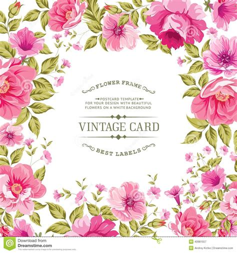 flower label on the vintage card stock vector image
