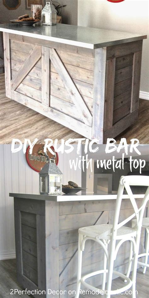 Diy Bar Remodelaholic Ikea Hack Rustic Bar With Galvanized Metal Top