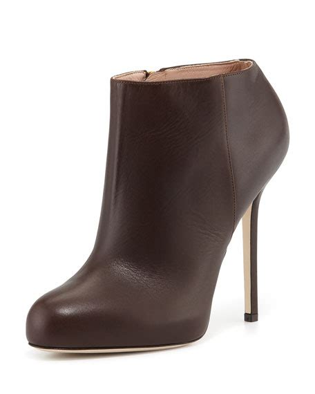brown high heel booties sergio leather high heel ankle bootie brown