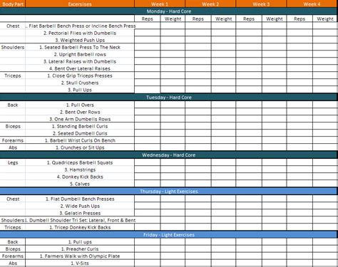 template for exercise program weekly workout plan template