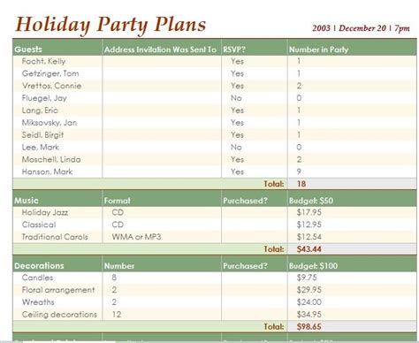 event planning spreadsheet template free planning checklist template