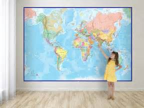 giant world map mural blue ocean by maps international world map wall murals