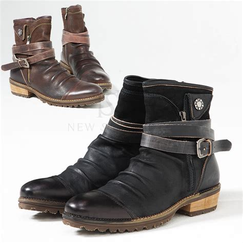 Cowhide Leather Shoes - shoes coiled belt aged look wrinkle cowhide leather
