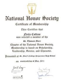 national honor society certificate of membership