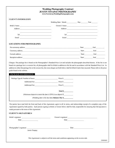 photography contract template   Wedding Photography