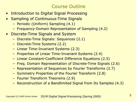 Signal Processing Course Outline by Ppt Ee 351m Digital Signal Processing Powerpoint Presentation Id 200067