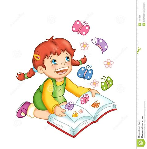 a child of books happy child with book stock illustration illustration of braids 13461031