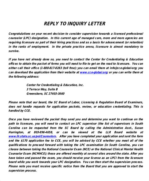 Inquiry Letter Reply letters in pdf