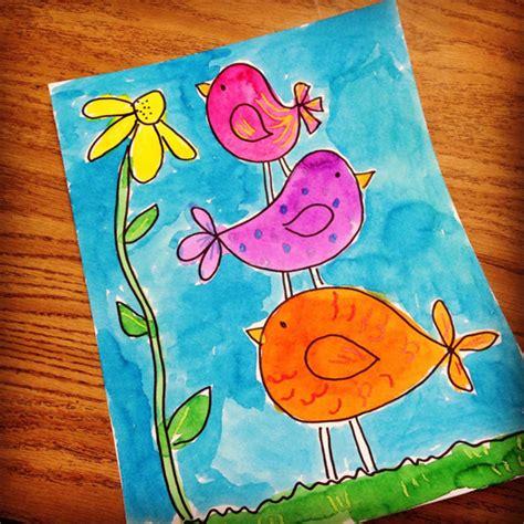 painting for small childrens stacked birdies projects for