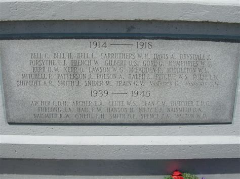 Ontario Deaths Records Records On The Cenotaph In Elmvale Simcoe County Ontario
