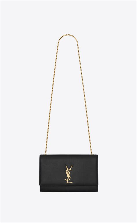 saint laurent medium kate chain bag  black textured