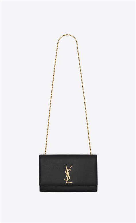 saint laurent medium kate chain bag  black textured