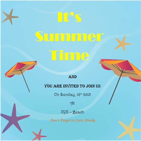 free summer invitation templates summer invitation templates carbon materialwitness co