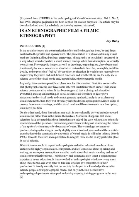 Ethnographic Essay Introduction by Ruby Studies In The Anthropology Of Visual Communication