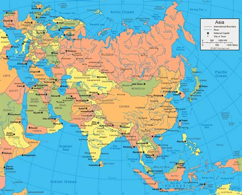map of asia continent asia maps