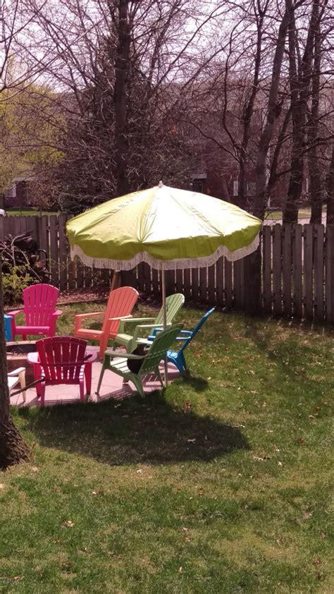 Patio Umbrella Fringe Vintage Groovy Lime Green Flower Fringe Patio Umbrella