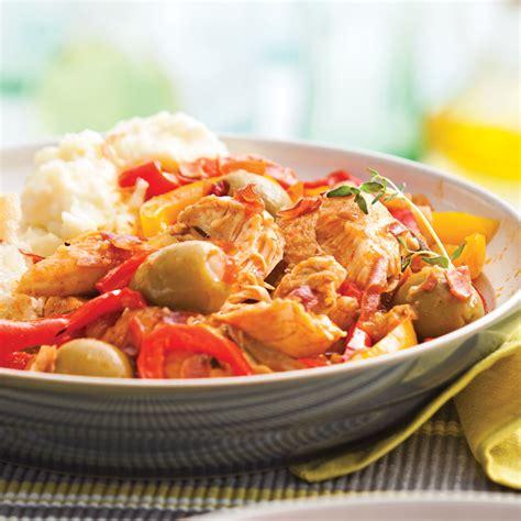 cuisine et mijot駸 mijot 233 de poulet aux poivrons et olives recettes