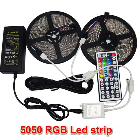 Led Light Waterproof 5050 Rgb 5m With Remote 10m 2 5m smd 5050 led light waterproof dc12v rgb diode 44key remote 6a transformer