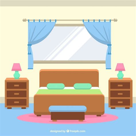 Bedroom Clipart Vector Interior Room With Windows And Curtains Vector Free