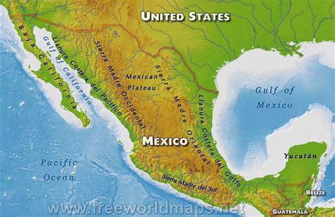 physical maps of mexico tbryantlatinamerica mexico geography