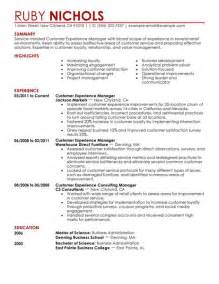 Retail Customer Service Resume Exles by Customer Experience Manager Resume Exle Retail Sle Resumes Livecareer