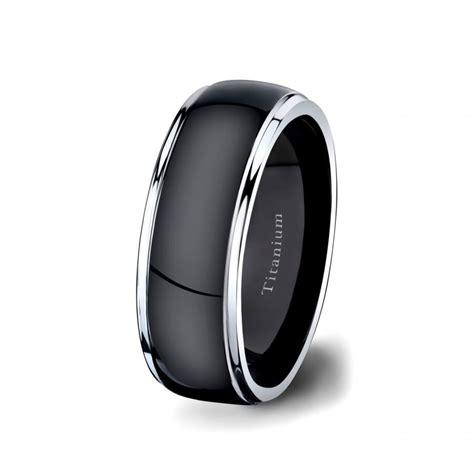 mens wedding band black titanium ring 8mm surface two