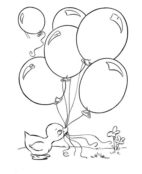 Coloring Pictures Of Birthday Balloons | easter ducks coloring page baby duck with balloons