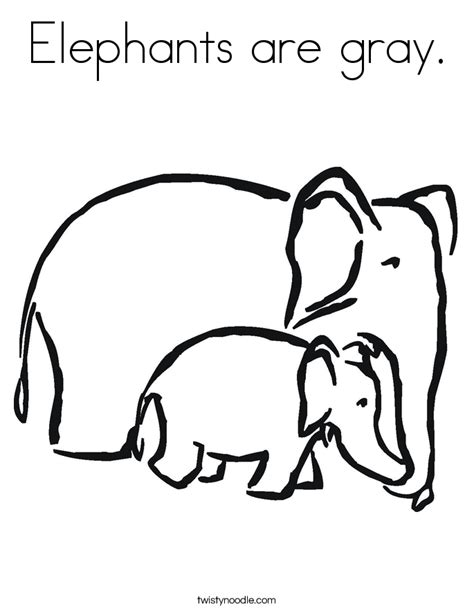 grey elephant coloring pages elephants are gray coloring page twisty noodle