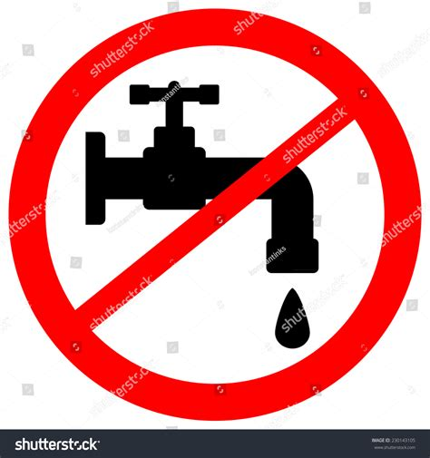 Kitchen Faucet Leaking From Handle by No Water Tap Sign On White Stock Vector 230143105