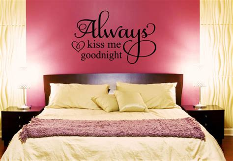 bedroom love kiss always kiss me goodnight wall decal love decals bedroom