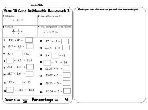 Free Homework Sheets For Year 6 by Homework Sheets Year 5 Kidz Activities