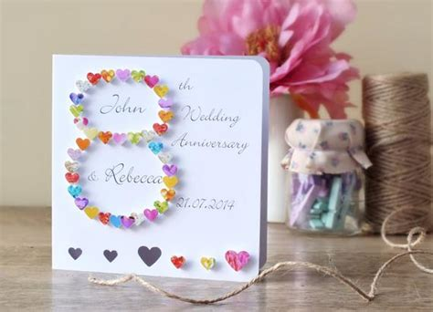 8th wedding anniversary cards handmade 3d 8th wedding anniversary card personalised eighth